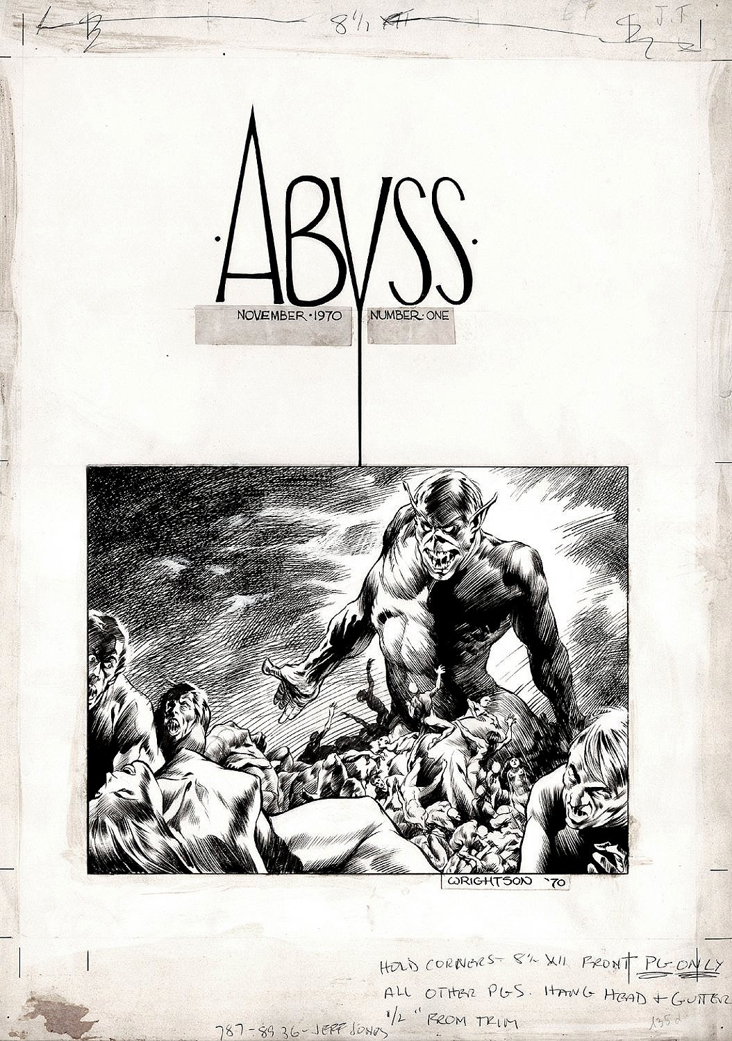 'The Abyss' Cover Art (AWESOME LARGE ART HORROR COVER!) 1970