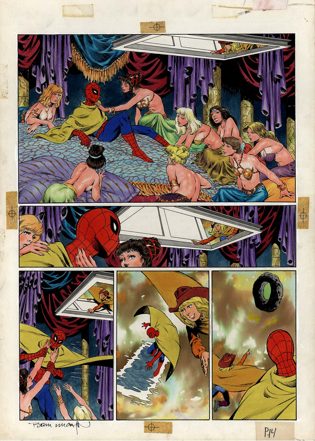 Amazing Spider-Man: Hooky Marvel Graphic Novel Page 14 Painting (SPIDER-MAN IN EVERY PANEL!) Large Art - 1986