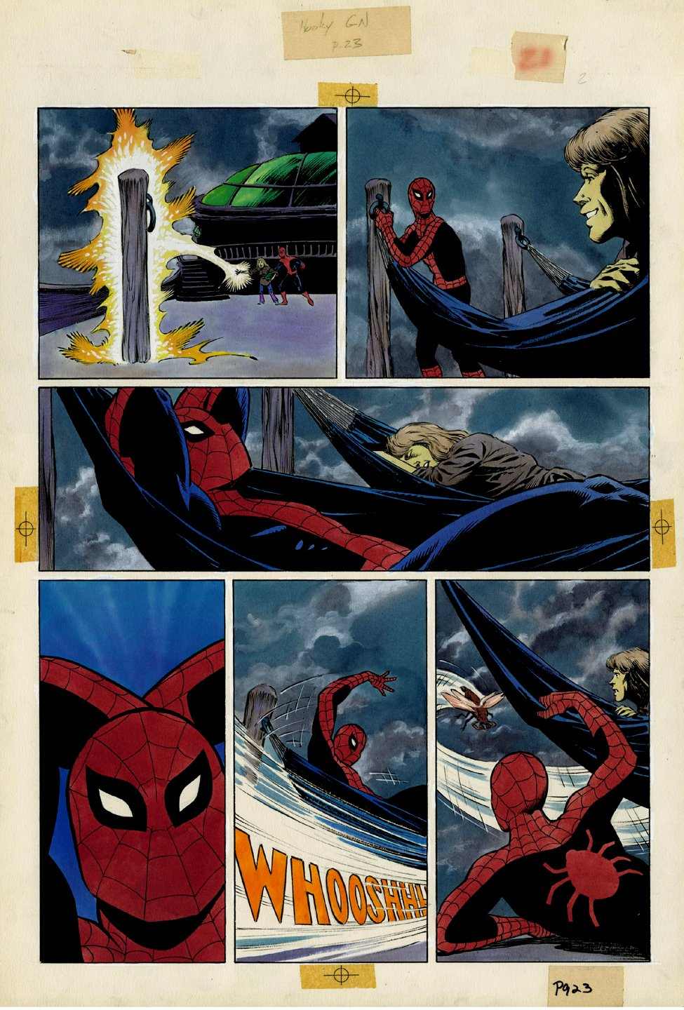 Amazing Spider-Man: Hooky Marvel Graphic Novel Page 23 Painting (SPIDER-MAN IN EVERY PANEL!) Large Art - 1986