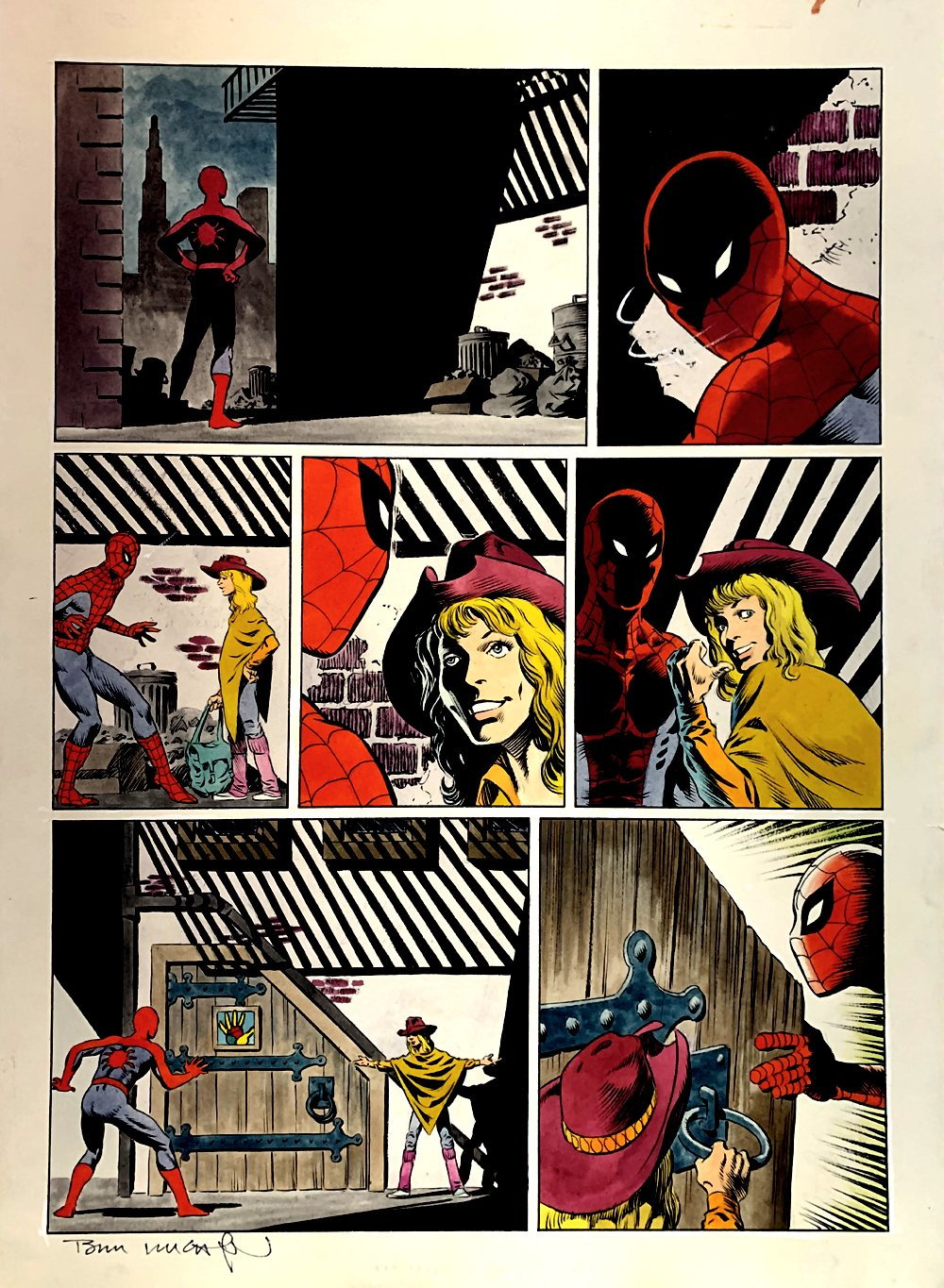 Amazing Spider-Man: Hooky Marvel Graphic Novel Page 7 Painting (SPIDER-MAN IN EVERY PANEL!) Large Art - 1986