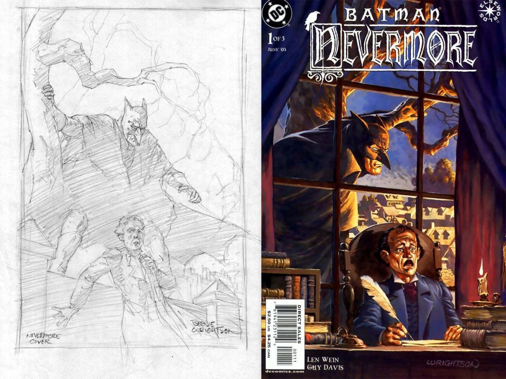 Batman: Nevermore #1 Unpub Cover Pencils (SOLD LIVE ON 'DUELING DEALERS OF COMIC ART' EPISODE #26 PODCAST ON 7-21-2021 (RE-WATCH THIS FUNNY ART SELLING SHOW HERE)