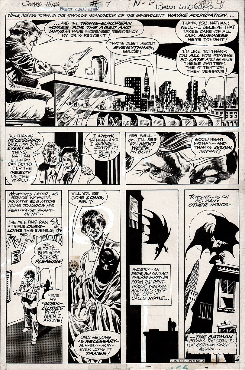 Swamp Thing #7 p 4 (NICE BATMAN PAGE!) 1973