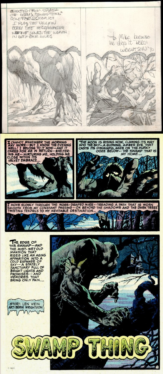 LITERALLY THE VERY FIRST 2 HISTORIC DRAWINGS EVER OF 'THE SWAMP THING, CREATED FOR HOUSE OF SECRETS #92 p 1 (1970)