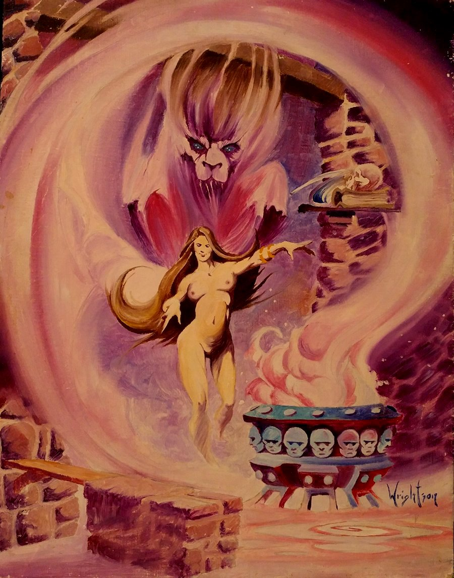 Nude Sorceress / Demon Oil Painting (VERY LARGE WRIGHTSON!)