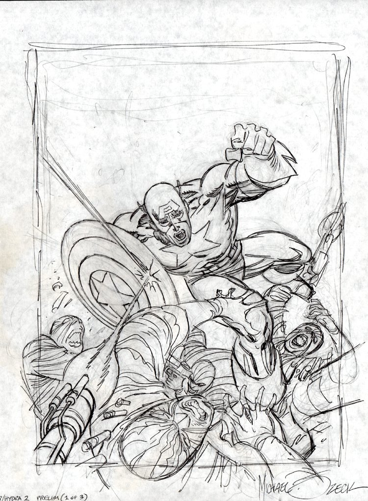 Captain America vs. Hydra Pencil Preliminary Cover Illustration