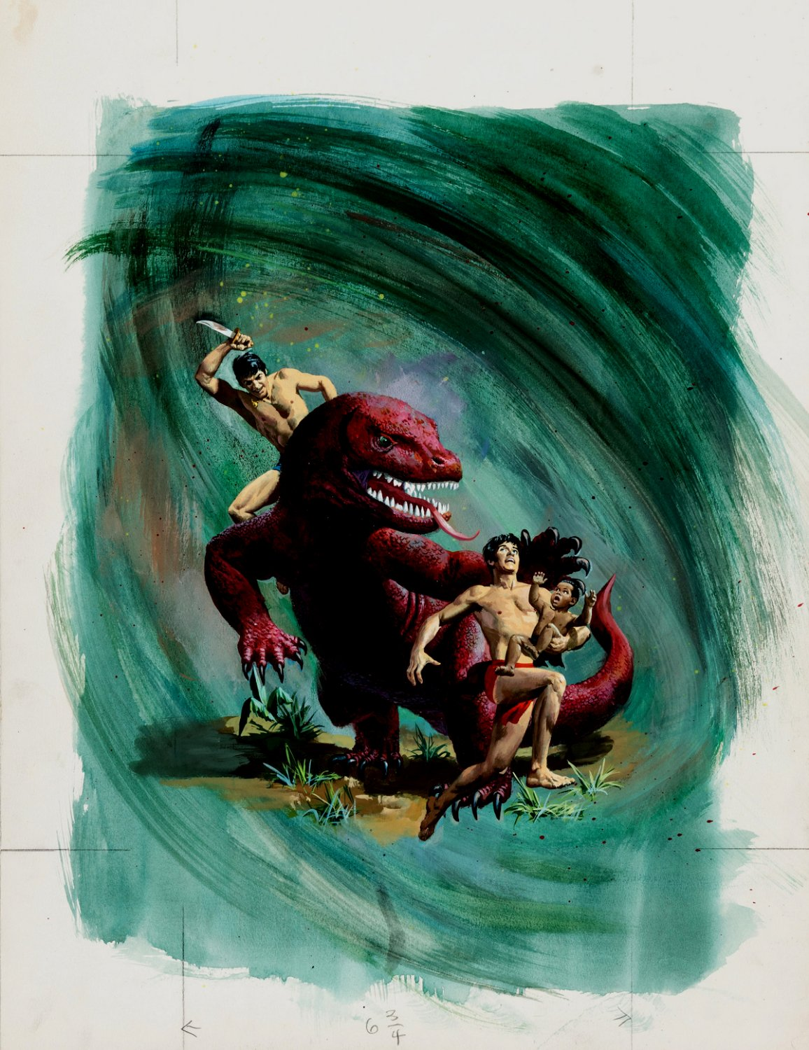 Jungle Twins #15 Gold Key Cover Painting (Dinosaur Battle) Large - 1975