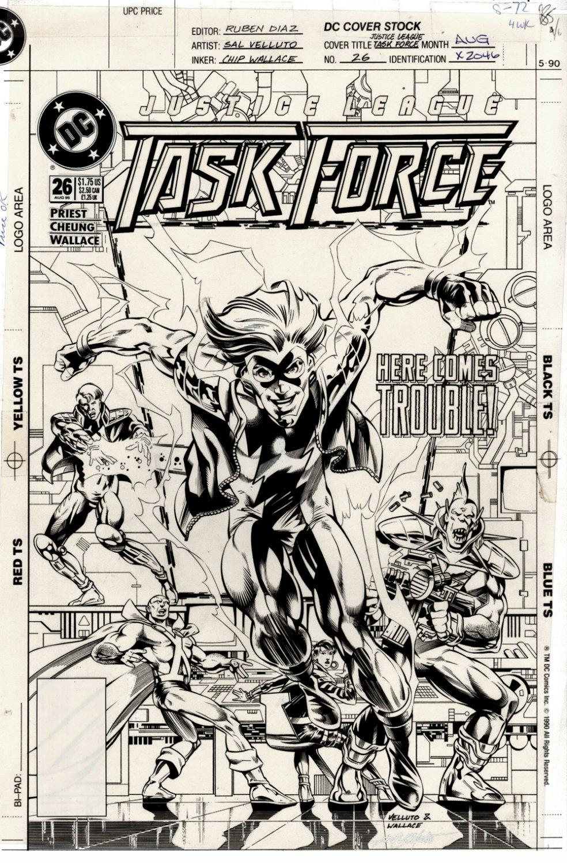 Justice League Task Force #26 Cover (Martian Manhunter, Gypsy, L-Ron, Triumph, Impulse!) 1995