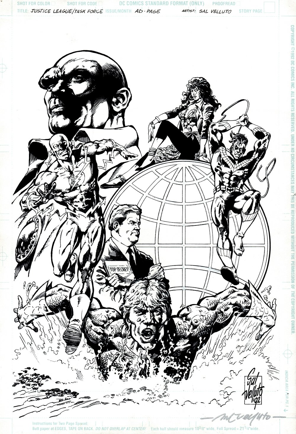 Justice League Task Force Published Pinup PRE ISSUE #1 (ENTIRE TEAM) 1992