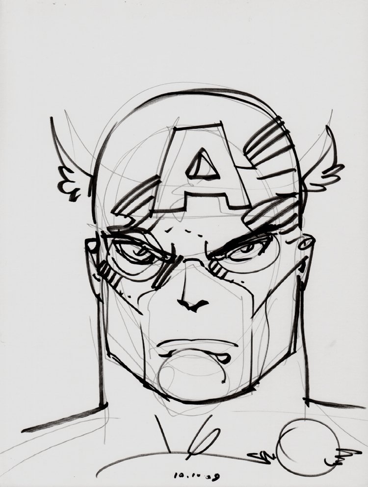Captain America Penciled and Marker Pinup (2009)