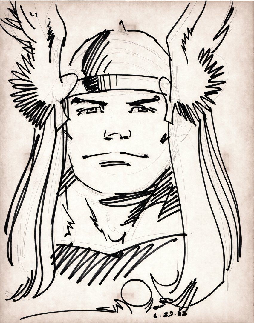 THOR Penciled and Marker Pinup (1983)