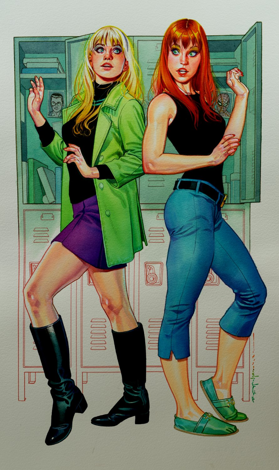 AMAZING Mary Jane Watson & Gwen Stacy Large Painting