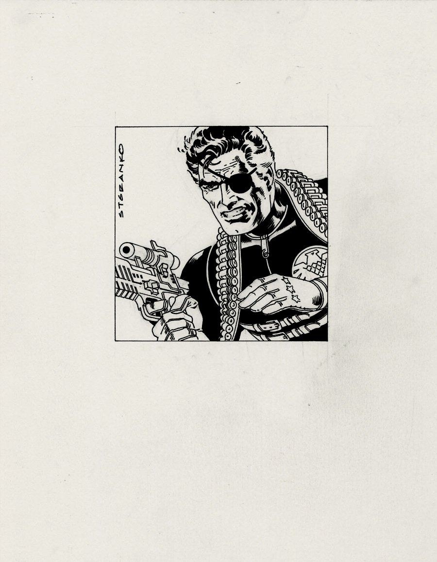 Nick Fury Fully Detailed Finished Inked Pinup!
