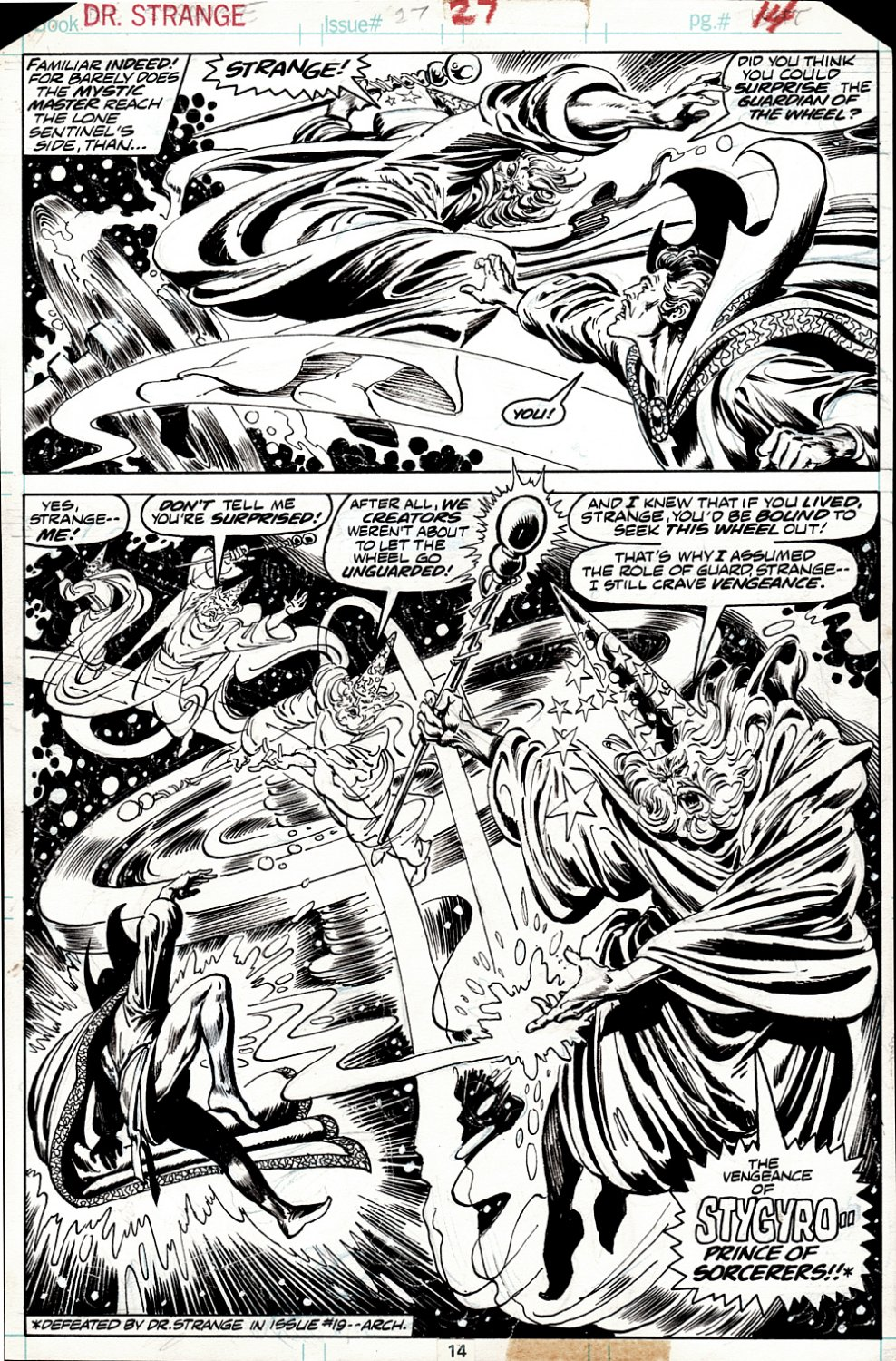 Doctor Strange #27 p 14 SEMI-SPLASH (GREAT BATTLE SPLASH!  DR. STRANGE BATTLES THE WIZARD: STYGYRO!) 1977