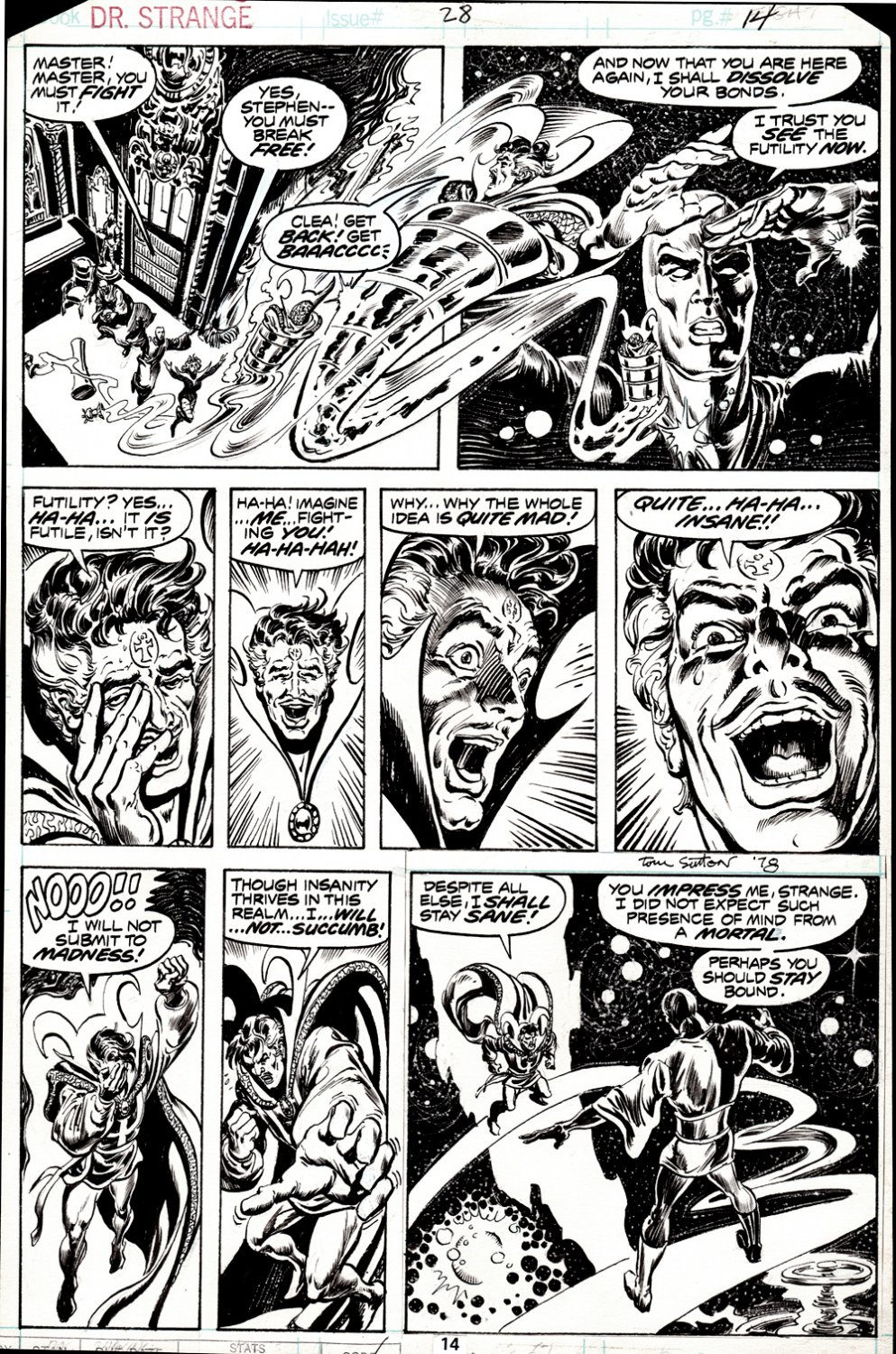 Doctor Strange #28 p 14 (DR. STRANGE BATTLES THE IN-BETWEENER IN EVERY PANEL!) 1977