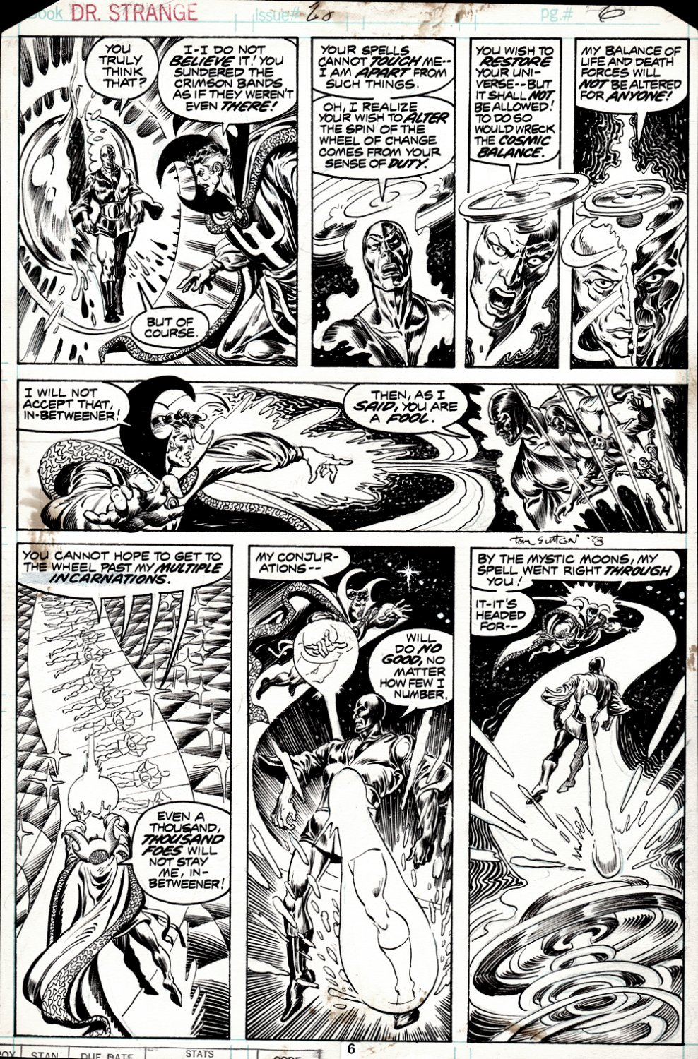 Doctor Strange #28 p 6 (DR. STRANGE BATTLES THE IN-BETWEENER IN EVERY PANEL!) 1977