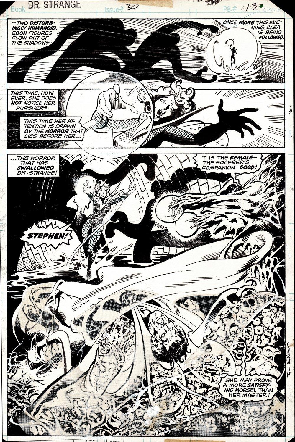 Doctor Strange #30 p 13 SEMI-SPLASH (GREAT BATTLE SPLASH! PAGE IN BOOK! CLEA & DR. STRANGE BATTLE THE DWELLER IN DARKNESS!) 1978