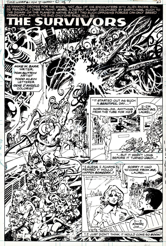 Time Warp #1 p 1 SPLASH (GREAT DC SCI-FI SPACE MONSTER BATTLE SPLASH!) 1979