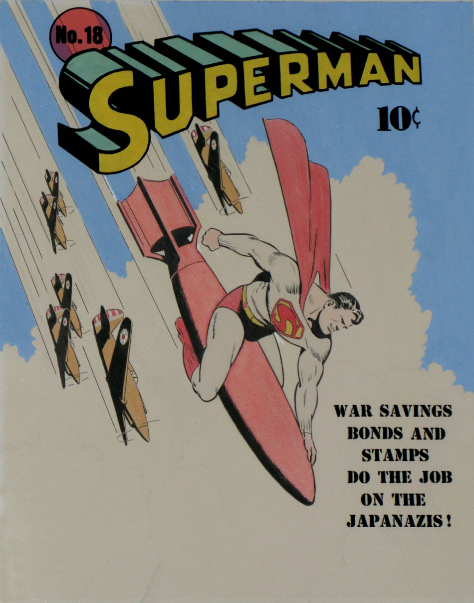 Golden Age Superman #18 HUGE Hand Colored / Painted Cover Recreation
