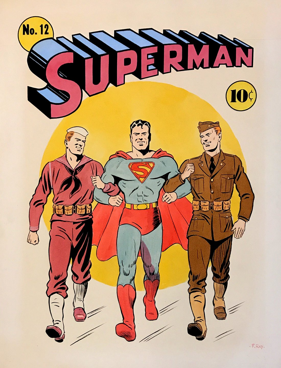 Golden Age Superman #12 HUGE Hand Colored / Painted Cover Recreation