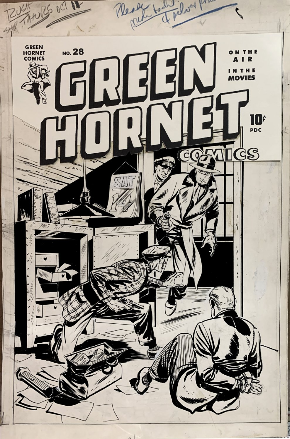 Green Hornet Comics #28 Golden Age (JERRY ROBINSON) Cover - Large Art 1945