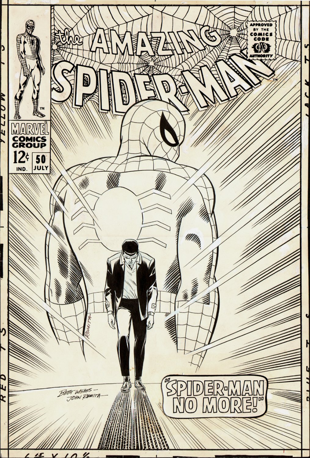 Amazing Spider-Man #50 Cover (Large Art) 1967 SOLD SOLD SOLD!