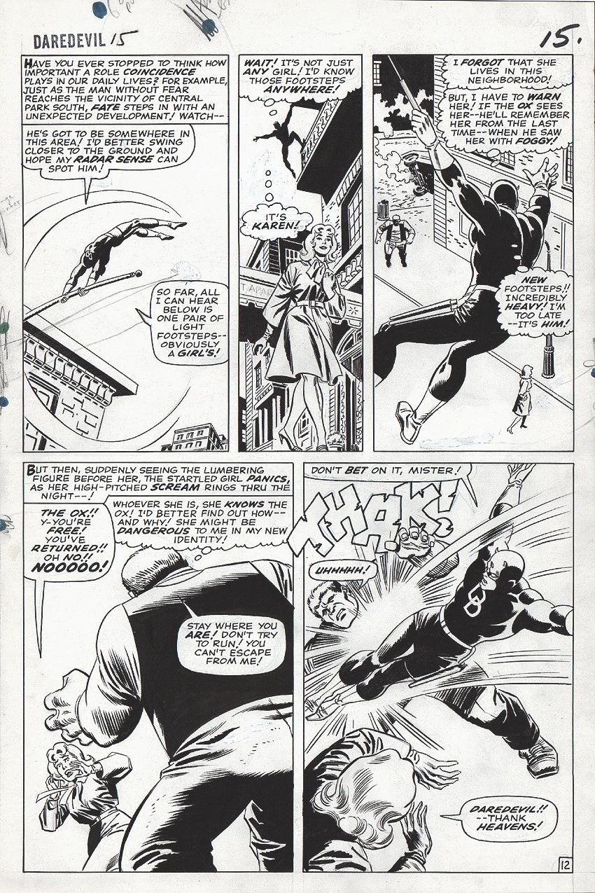 Daredevil #15 p 12 (LARGE ART) 1965 SOLD SOLD SOLD!
