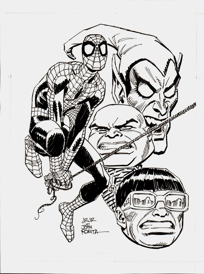 Spider-Man, Green Goblin, Kingpin, Dr. Octopus Published Pinup SOLD SOLD SOLD!