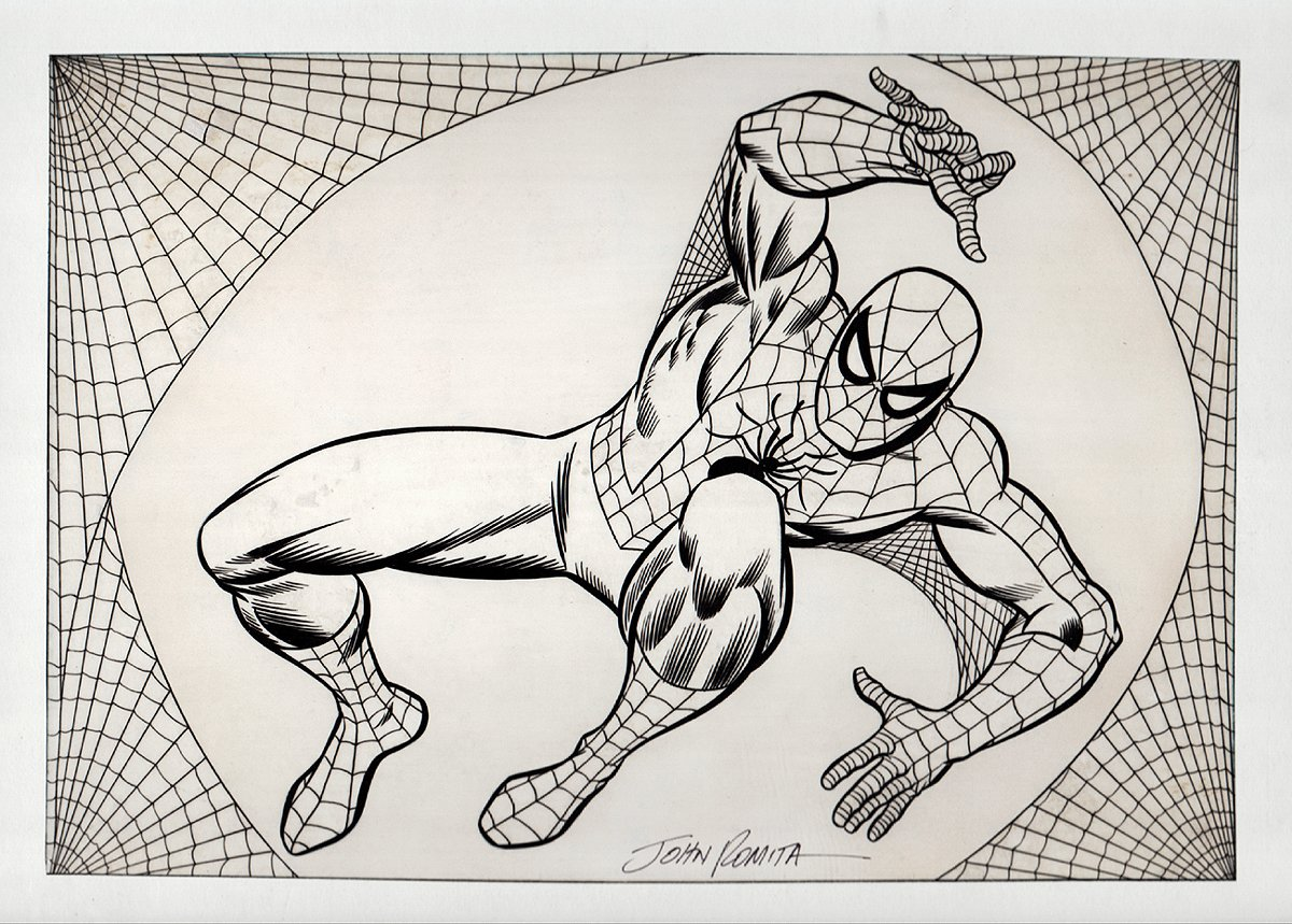 Historic Very First Published John Romita Spider-Man Newspaper Strip Art, (Also Used For Marvel Treasury Cover) 1976 SOLD SOLD SOLD!