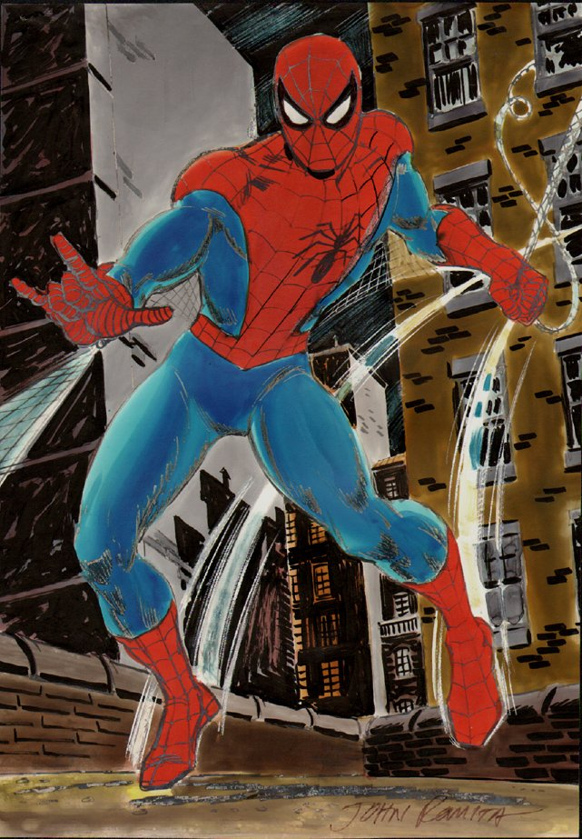 Spider-Man 1970s Spider-Man Published Watercolor Pinup! SOLD SOLD SOLD!