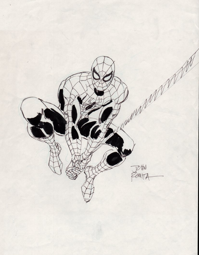 Spider-Man Swinging Drawing (1980s) SOLD SOLD SOLD!