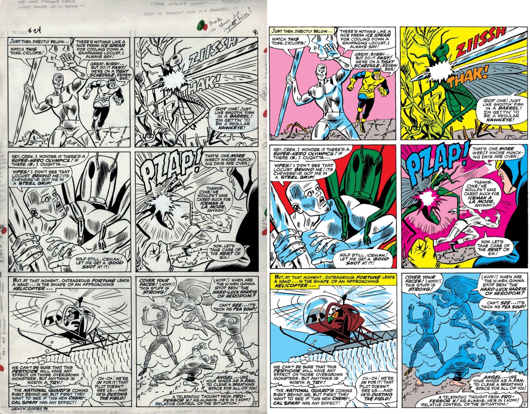 X-Men #24 p 7 (X-MEN TEAM BATTLES...THE LOCUST!) Large Art -1966