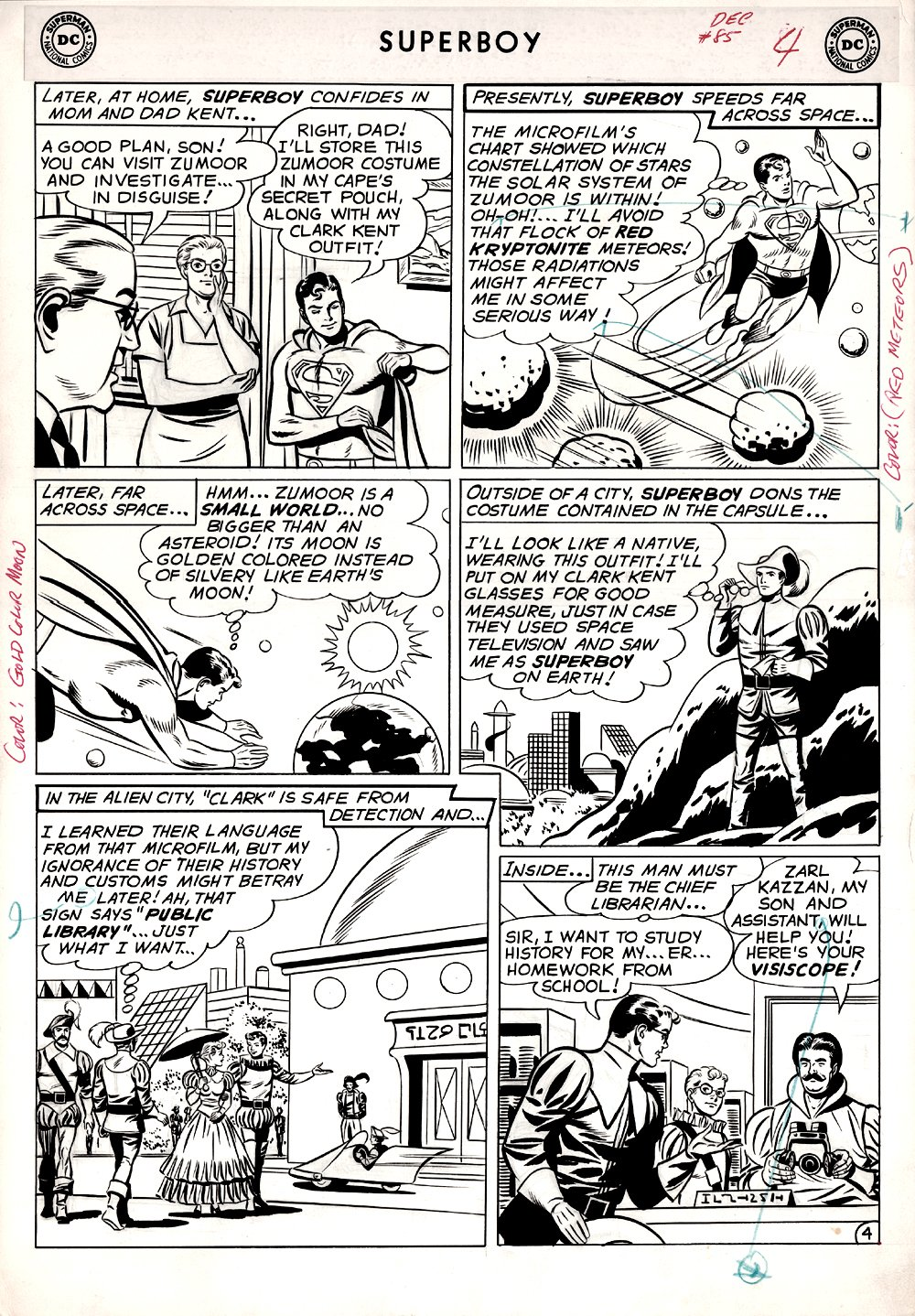 Superboy #85 p 4 (SUPERBOY IN  EVERY PANEL!) Large Art - 1960