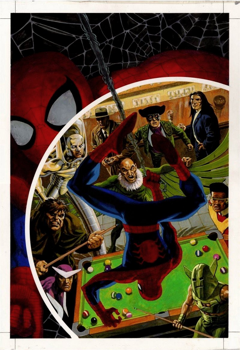 Spider-Man's Tangled Web #13 Cover Painting (2 Spider-Man Images & 9 Super Villains!) VERY LARGE - 2002