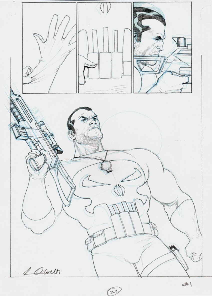 Punisher War Journal #1 p 22 SPLASH & PUBLISHED #1 COVER! 2006
