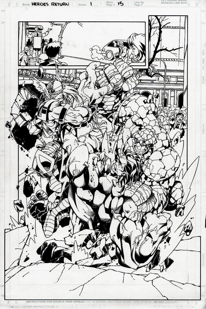 Heroes Reborn: The Return #1 p 15 SPLASH (THOR & THING BATTLING THE HULK!) 1997