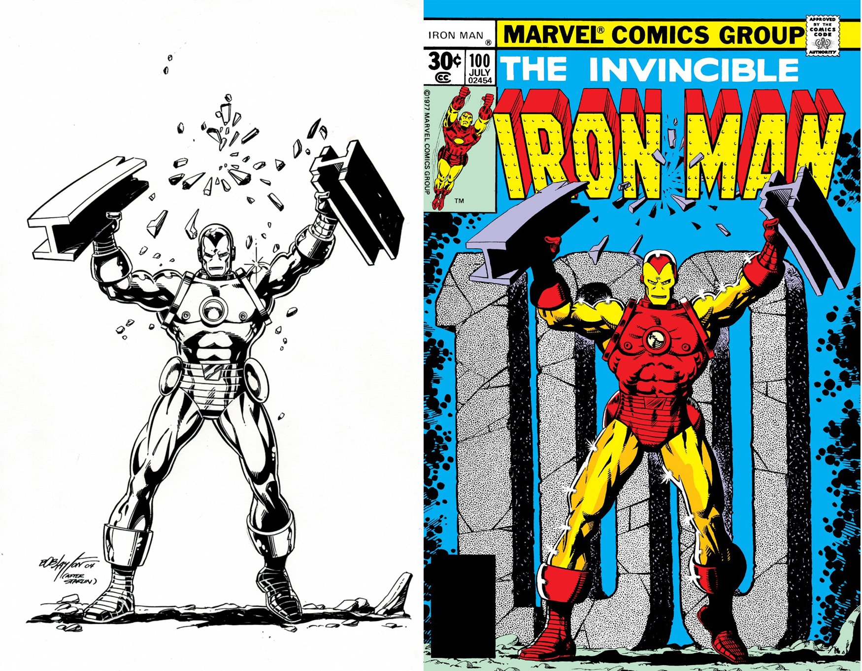 Iron Man #100 Cover Recreation (SOLD LIVE ON 'DUELING DEALERS OF COMIC ART' EPISODE #39 PODCAST ON 10-4-2021
