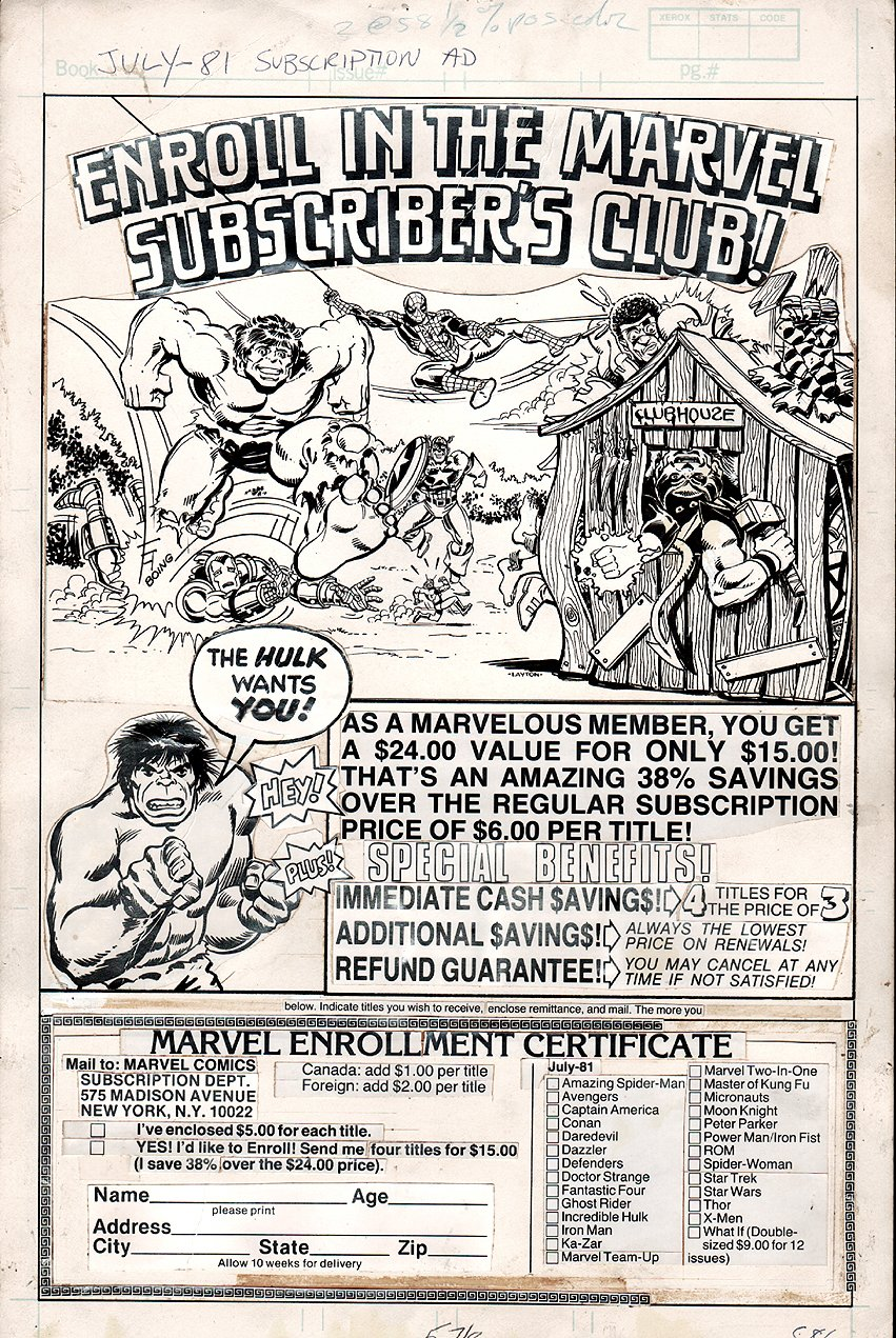 1981 Marvel Subscription Ad With 11 Heroes