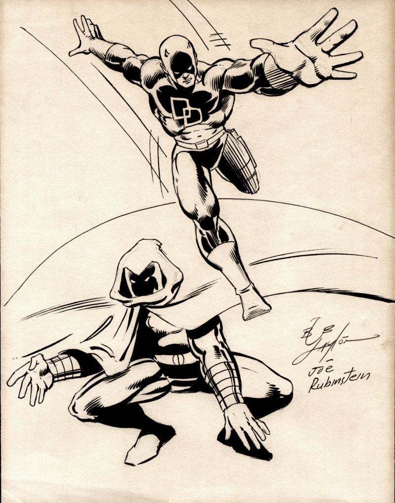 Daredevil / Moonknight Pinup (SOLD LIVE ON 'DUELING DEALERS OF COMIC ART' EPISODE #35 PODCAST ON 9-4-2021