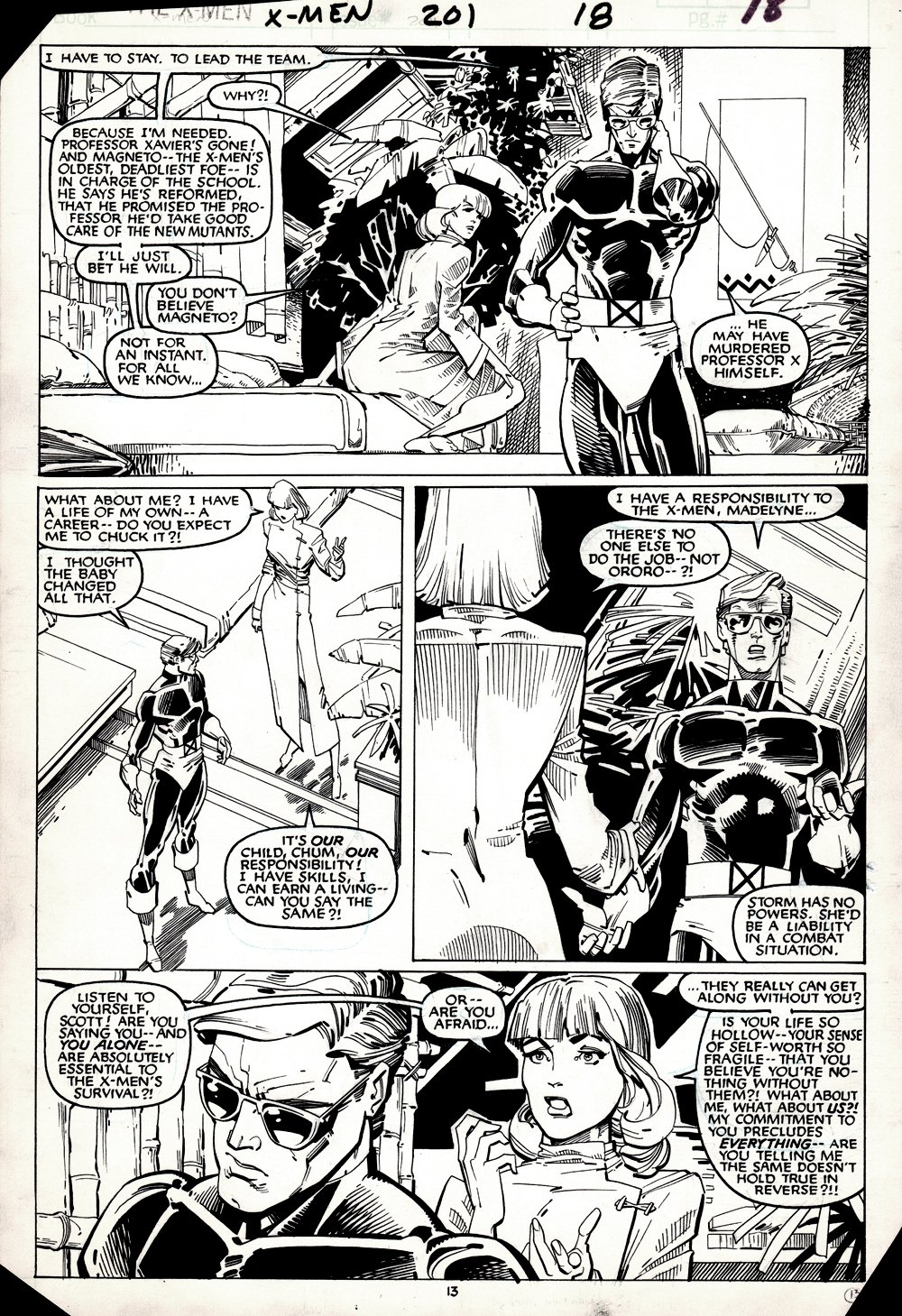 Uncanny X-Men #201 p 13 (HISTORIC BABY CABLE ISSUE!) 1985