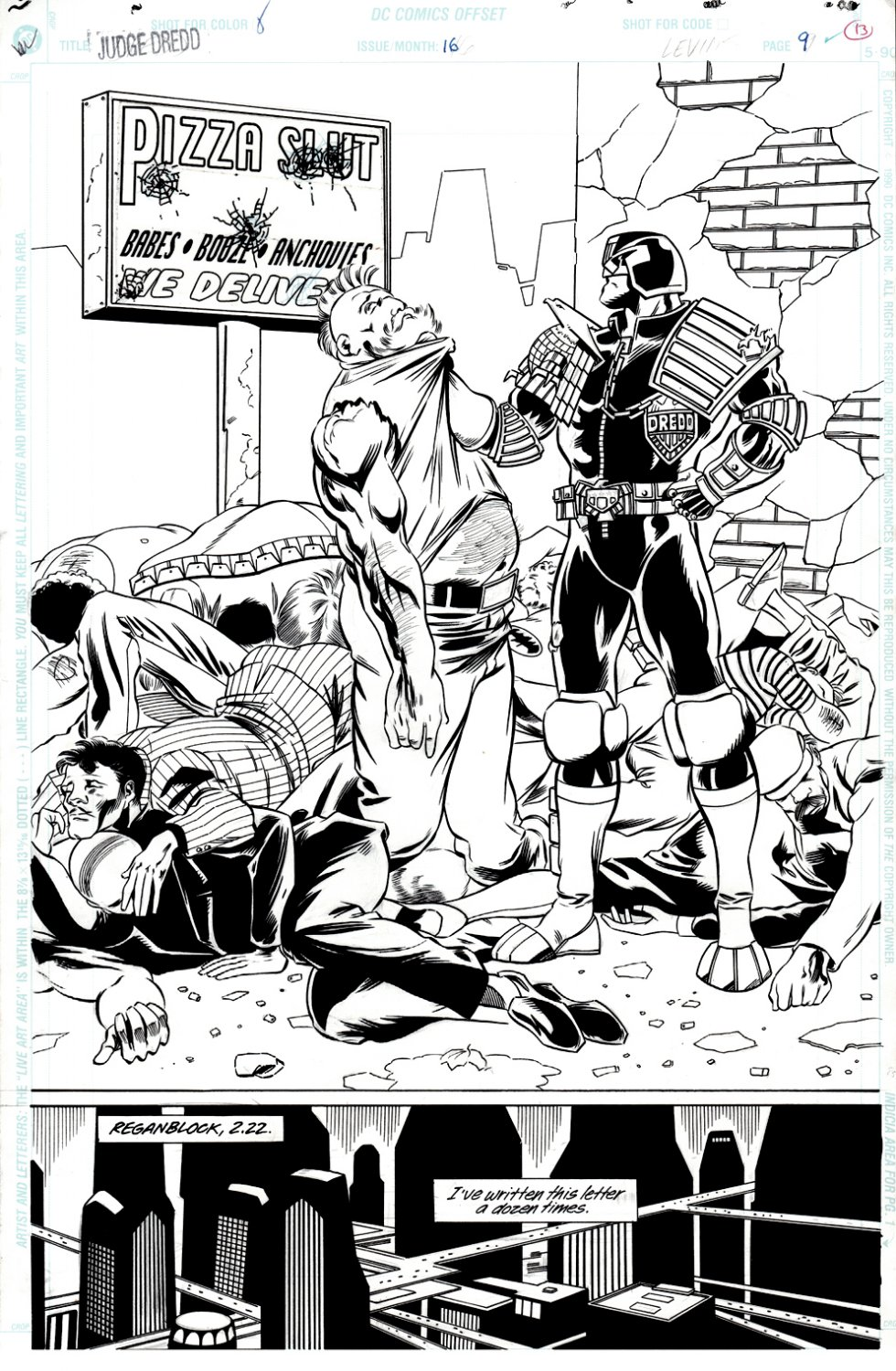 Judge Dredd 16 Splash SOLD LIVE ON 'DUELING DEALERS PRO-AM' EPISODE #7 PODCAST ON 9-14-2021 (RE-WATCH THIS FUNNY ART SELLING SHOW HERE)