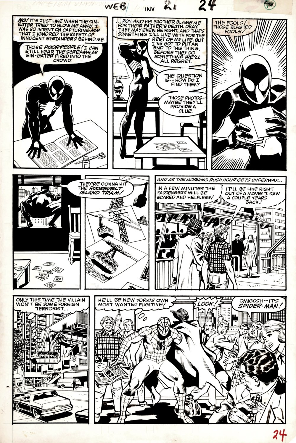 Web of Spider-Man #21 p 24 (Rare Page With Black Costume Spider-Man & Original Costume Spider-Man!) 1986
