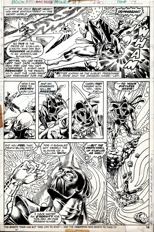 Marvel Premiere #22 p 14 (BEST BATTLE PAGE IN BOOK! IRON FIST BATTLE THE NINJA!) 1975