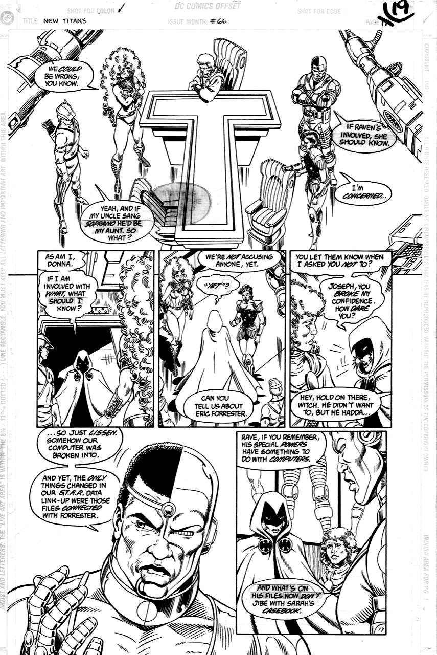 New titans 66 p 17 (SOLD LIVE ON 'DUELING DEALERS OF COMIC ART' EPISODE #9 PODCAST ON 3-24-2021 (RE-WATCH OUR LIVE ART SELLING PODCAST HERE!)