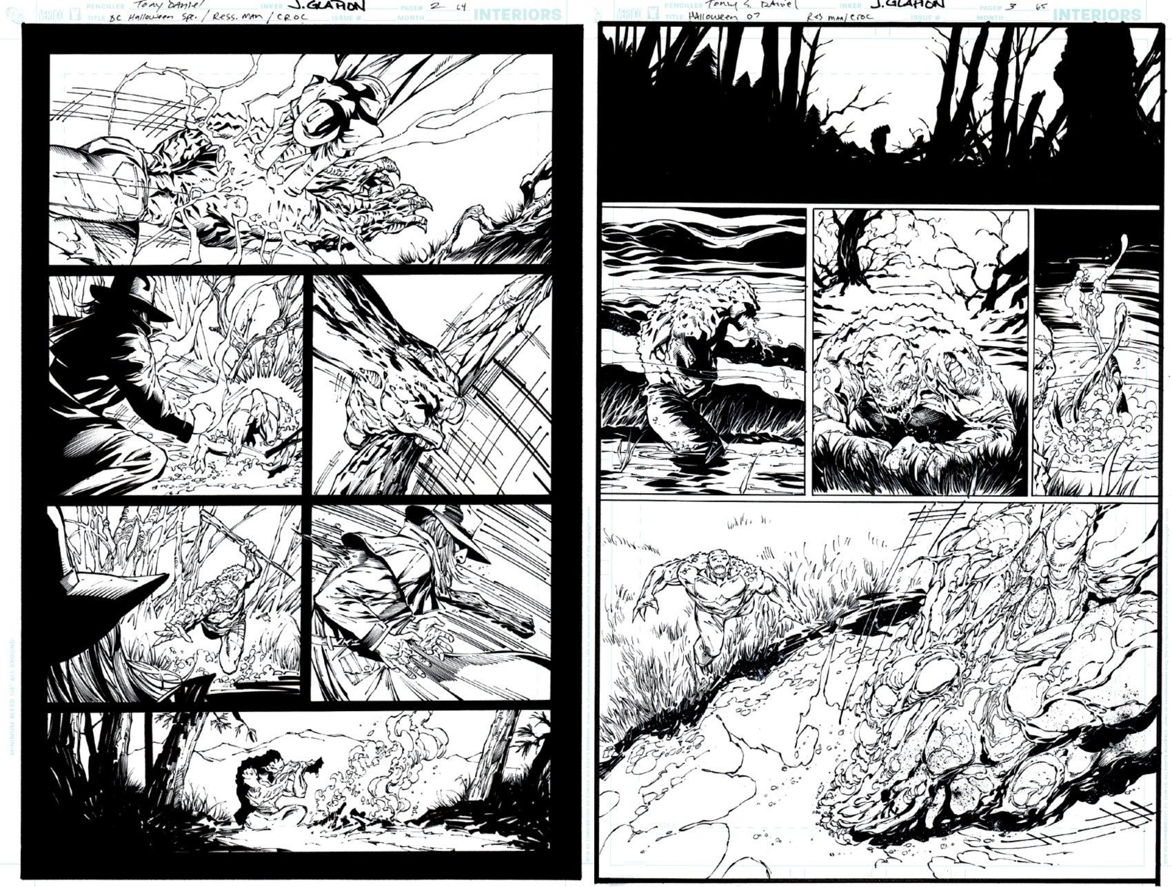 DC Infinite Halloween Special #1 pages 64 & 65 (KILLER CROC KILLS & EATS RESSURECTION MAN!) 2007