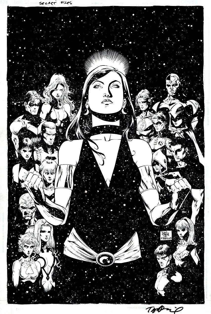 Teen Titans and Outsiders Secret Files / Origins #1 Cover (17 HEROES DRAWN!) 2005