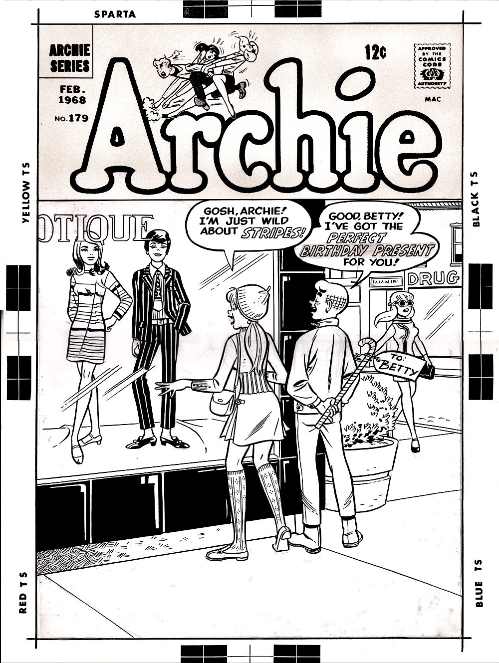 Archie Comics #179 Cover (LARGE SILVER AGE COVER) 1967