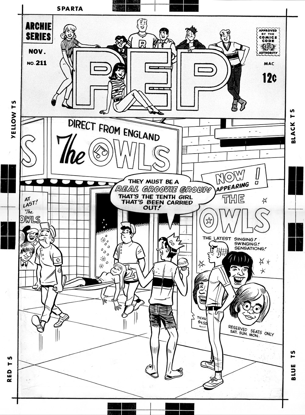 Pep Comics #211 Cover (BEETLES HOMAGE COVER, LARGE SILVER AGE COVER) 1967