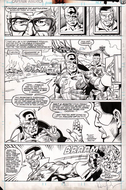 Captain America #344 p 13 (Captain America & Battlestar) 1988
