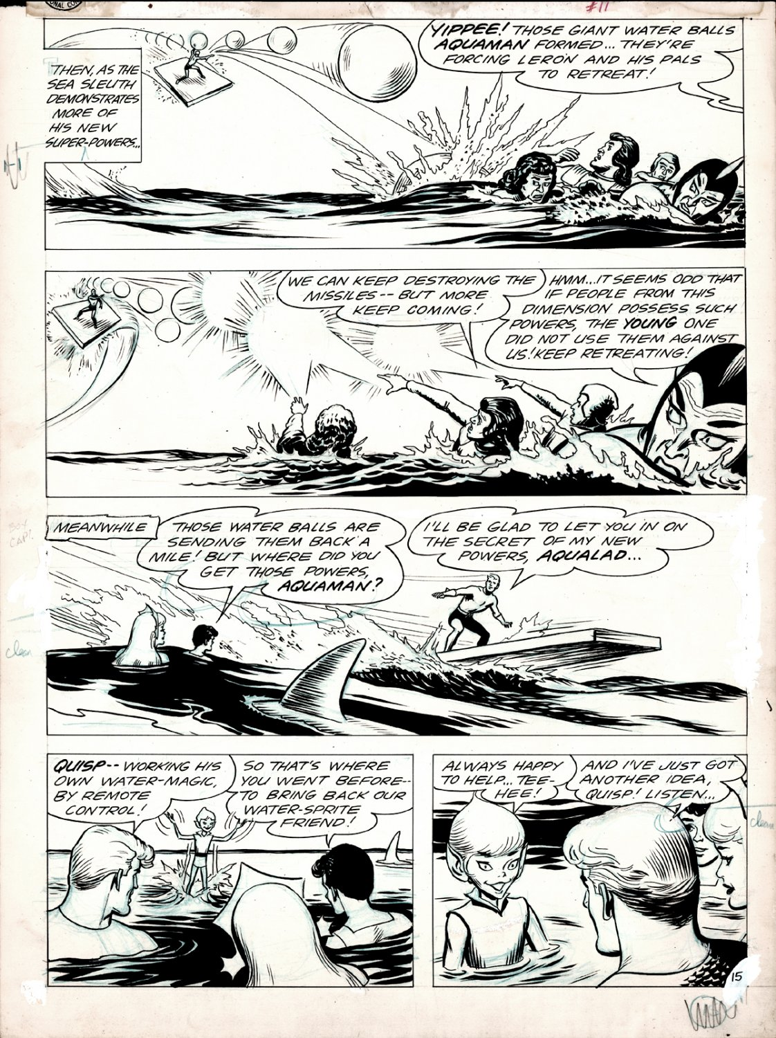 Aquaman #11 p 15 (HISTORIC VERY FIRST 'MERA' APPEARANCE STORY!) Large Art - 1963