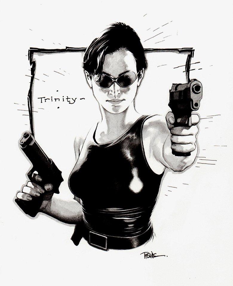 The matrix: 'Trinity' Mixed Media Pinup